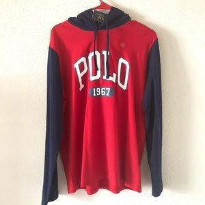 Classic Polo Ralph Lauren Hooded Sweat Red Size M